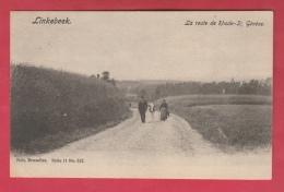 Linkebeek - La Route De Rhode-St Génése ... Paysans Et Leur Vache - 1906 ( Verso Zien ) - Linkebeek