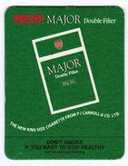 SOUS-BOCK NEW ! MAJOR DOUBLE FILTER THE NEW KING SIZE CIGARETTE FROM PJ CARROLL & CO. LTD - Sous-bocks