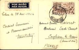 PORTUGAL - Oblitération De Lisbonne Sur Carte Postale En 1946 Pour La France Par Avion ( étiquette) - A Voir - L  4264 - 1910-... République