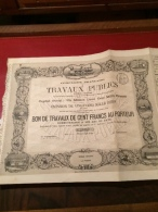 Cie   FRANÇAISE   De  TRAVAUX   PUBLICS   --------Bon   De  Travaux   De  100 Frs - Industrie