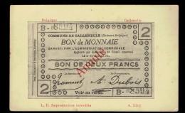 Bon De Monnaie 2 Frs De Callenelle Annulé En Rouge - Coins (pictures)
