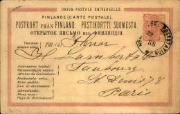 FINLANDE - Entier Postal Pour Paris En 1888 - A Voir - L  4289 - Finlande