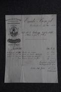 """Facture Ancienne , HAUBOURDIN, Manufacture De Chicorée """" A LA BERGERE"""", Emile BONZEL. - 1800 – 1899"""