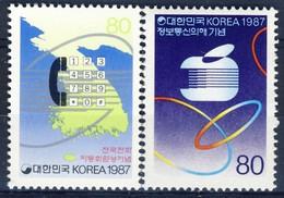 +Korea South 1987. Telecommunication. Michel 1525-26. MNH(**) - Corea Del Sud