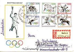 RDA. N°736-41 De 1964 Sur Enveloppe 1er Jour Ayant Circulé. J.O. De Tokyo/Cyclisme/Volley/Lutte:Plongeon/Equitation. - Summer 1964: Tokyo