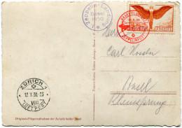 "SUISSE CARTE POSTALE ""ZEPPELIN - LANDUNG BASEL 1930"" AVEC OBLITERATION ROUGE BASEL-....12-X-30 ZEPPELINPOST + CACHET.... - Posta Aerea"