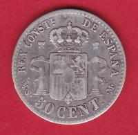 Espagne - 50 Centimos - 1885  - Argent - Other