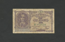 BELGIUM - 1 Franc  1916  Fine  ( Banknotes ) - [ 3] Occupations Allemandes De La Belgique