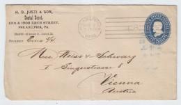 USA Philadelphia/Vienna PS COVER 1895