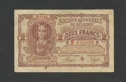 BELGIUM - 2 Francs  1916  F-VF  ( Banknotes ) - [ 3] Occupations Allemandes De La Belgique