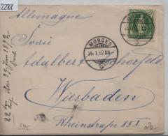 1892 Stehende Helvetia/Helvetie Debout 67C/59XC - Cachet: Morges Pour Wiesbaden 25.I.92 - 1882-1906 Armoiries, Helvetia Debout & UPU