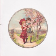 Affiche - Dessin - Chromo  -  Deux Jeunes Filles Se Promenant Dans Une Allée. - Afiches