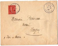 TB 2096 - LSC - TB Type Semeuse Sur Lettre OB OLONNE Pour LAGNY - Marcophilie (Lettres)