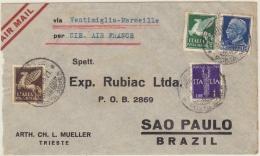 1935 Lettera Via Aerea Per Il Brasile  (Vedi 2 Foto) - 1900-44 Vittorio Emanuele III
