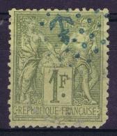 France:  Yv  82  Cachet ANCRE En Bleu , Cachet De Bord Des Paquebots - 1876-1878 Sage (Type I)