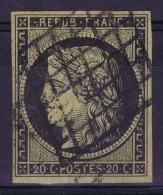 France   Yv 3 B  Chamois  Cachet Grille - 1849-1850 Cérès