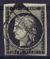 France   Yv 3  Cachet Grille Variation Bouche A 2e Ligne