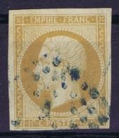 France   Yv 13A Cachet Grille Pointilée En Bleu