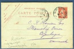 France - Entier Postal Commerciale Type Semeuse De Rouen Pour Le Danemark En 1911  Réf O 25