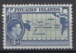 "Pitcairn - Koning George VI - Muiterij ""Bounty""- Kartes Des Südpazifiks - Pitcairn - MH - M5 - Postzegels"