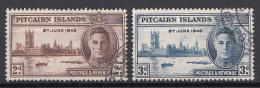 Pitcairn - Koning George VI - Einde Tweede Wereldoorlog - Parelement Londen - Gebruikt/gebraucht/used - M11-12 - Postzegels