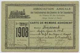 Carte De Membre Association Amicale Des Fonctionnaires Des Chemins De Fer Secondaires De France Et Des Colonies. Niger. - Zonder Classificatie