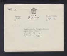 Iran Persia Cabinet Particulier De Sa Majeste Farah Pahlavi Cover To Germany - Irán