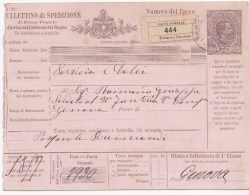 88000 J - Entier Postal Bulletin D'expédition 75 C Brun Cad TERMINI IMERESE Feb 1890 REC TB - 1878-00 Umberto I
