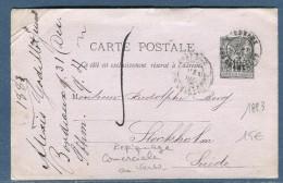 France - Entier Postal Type Sage Repiquage Commerciale Au Verso De Bordeaux En 1883 Pour La Suéde  Réf O 49