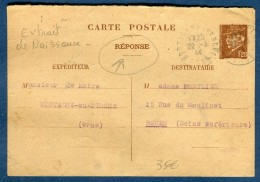 France - Entier Postal Type Pétain , Carte Réponse D 'extrait D 'acte De Naissance De Mortagne Au Perche 1944  Réf O 50