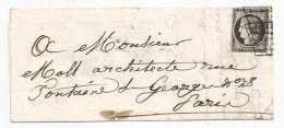 - Lettre - SEINE - PARIS - Double Grille S/TPND N°3 Noir/blanc + Càd T.15 (au Verso) - 1849 - 1849-1850 Cérès