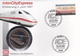 Train: Germany FDC 1991 InterCityExpress W/Medal (Polierte Platte) (SKO15-1B) - Treni