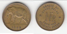 ****  CONGO BELGE - 1 FRANC 1949  - ELEPHANT **** EN ACHAT IMMEDIAT !!! - Congo (Belge) & Ruanda-Urundi