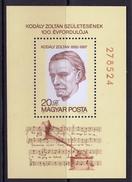 HUNGARY HONGRIE 1982 MUSIC 100th Birthday Of Zoltan Kodaly, Composer - Música