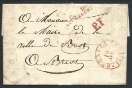 """L Càd BRUXELLES/1831 + P  P/BRUXELLES + P.F + AED Pour Brest + """"65"""" Au Dos - 1830-1849 (Belgique Indépendante)"""