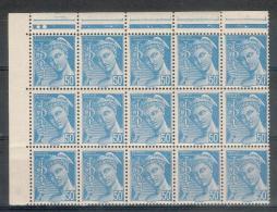 France - 1942 - Superbe Bloc De 15 Valeurs -  Mercure 50 C. Turquoise Y&T N°549 ** Neuf Luxe  (gomme D´origine Intacte). - 1938-42 Mercure