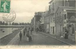 E-16 1219 : SAINT-VALERY-SUR-SOMME  LE QUAI BLAVET ET LE RESTAURANT BELLEGUEULE. VENTE DE CARTES POSTALES - Saint Valery Sur Somme