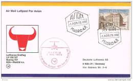 19635. Carta  Aerea MADRID 1973. Lufthansa Erstflug. Primer Vuelo Boeing. Fechador MADRID A.P. - 1931-Hoy: 2ª República - ... Juan Carlos I