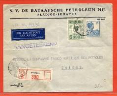 INDES NEERLANDAISES LETTRE RECOMMANDEE DE 1932 DE PLADJOE  POUR SAIGON INDOCHINE CACHET THAI AU VERSO - Nederlands-Indië