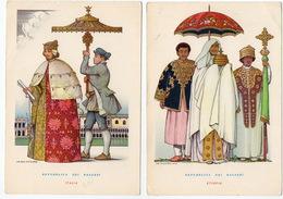 2 Cartolina Repubblica Dei Ragazzi Etiopia E Italia Serie Ombrello Umbrella Civitavecchia NV - Europe