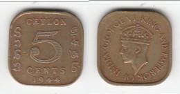 **** CEYLON - SRI-LANKA - 5 CENTS 1944 GEORGE VI **** EN ACHAT IMMEDIAT !!! - Sri Lanka