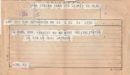 #BV3256  TELEGRAM, FROM TIMISOARA TO CLUJ, 1955, ROMANIA. - Télégraphes