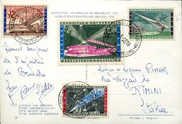 14333 Belgium,  Circuled Card  1958 With 4 Stamps For The World Exhibition Of Bruxelles 1958
