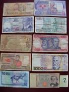 Lot De 10 Billets D'anciens Billets De Banque Usagés Monde. N0 2 - Billets