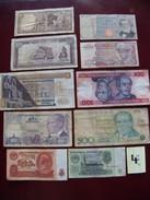 Lot De 10 Billets D'anciens Billets De Banque Usagés Monde. N0 4 - Billets