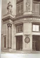 L ARCHITECTE 1911 NOUVEAUX MAGASINS DU PRINTEMPS SOUBASSEMENT DE ROTONDE D ANGLE BOULEVARD HAUSSMANN PARIS 9 - Architectuur