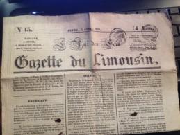 LA GAZETTE DU LIMOUSIN , JEUDI 5 AVRIL1834, Gazette Locale Et  Nationale - Sonstige
