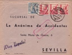 03308  Carta De Badajoz A Sevilla - Censura Militar  Badajoz - 1931-50 Brieven