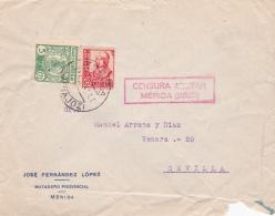 03312 Carta De Badajoz A Sevilla -  Censura Militar  Mérida - 1931-50 Brieven