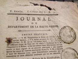 JOURNAL DU DÉPARTEMENT DE LA HTE VIENNE,12 FÉVRIER 1807,EMPIRE FRANÇAIS - Revues & Journaux